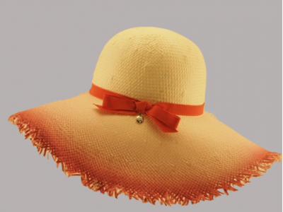 Cappello paglia bordo rosso