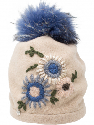 Cappello bianco pom pom blu