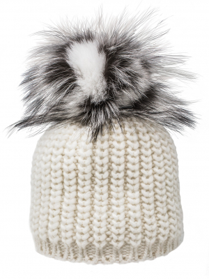 Cappello bianco pom pom grigio